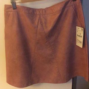 Brand new peach leather skirt